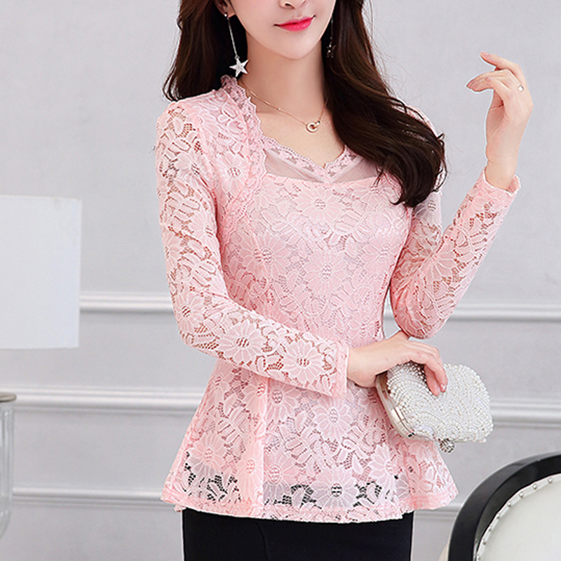 2019 Plus size Women clothing Spring lace   Shirt   Tops Cutout basic female Elegant long-sleeve Lace   Blouses     shirts   M-4XL 117F