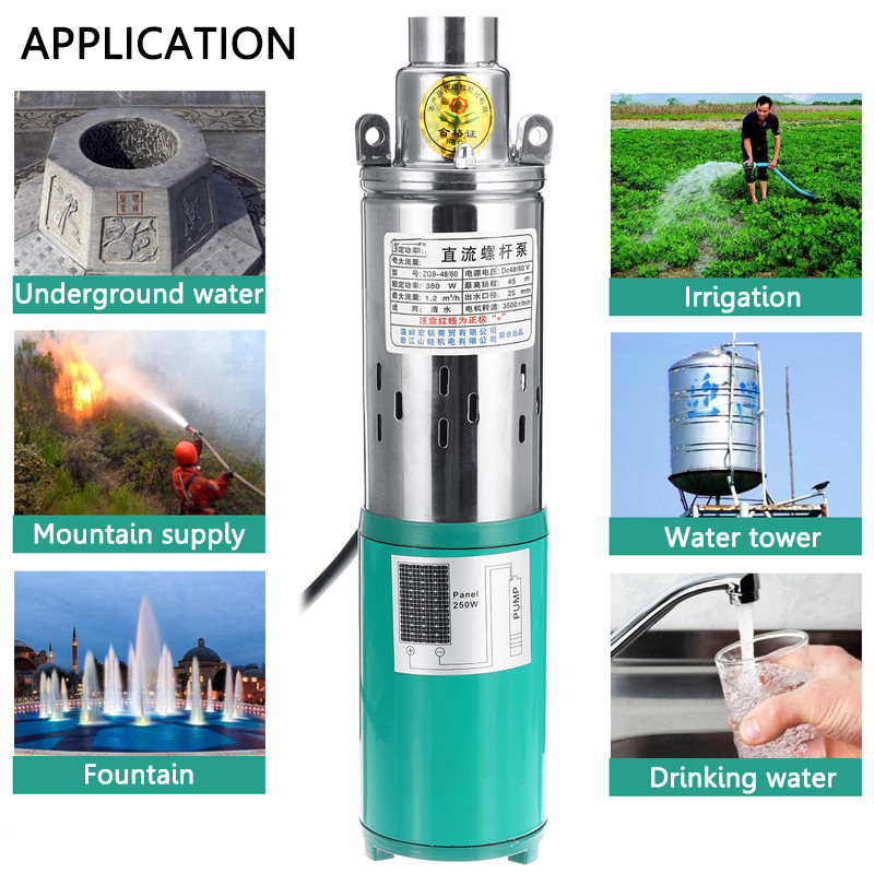 100W Solar Panel /&12V Submersible Pump Deep Well DC Pump for Farm Watering 230ft