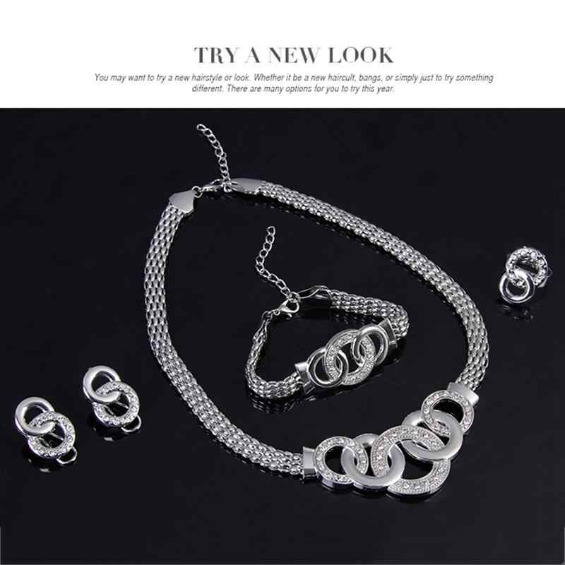 African Jewelry Set Dubai Gold Silver Jewelry Sets for Women Round Wedding Jewellery Set Bridal Costume Jewelery