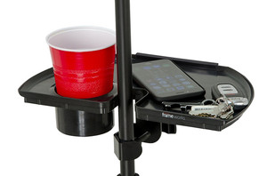 Image 2 - LEORY 1pc Black Frameworks Microphone Stand Accessory Tray With Drink Holder Toys Microphone Accessories
