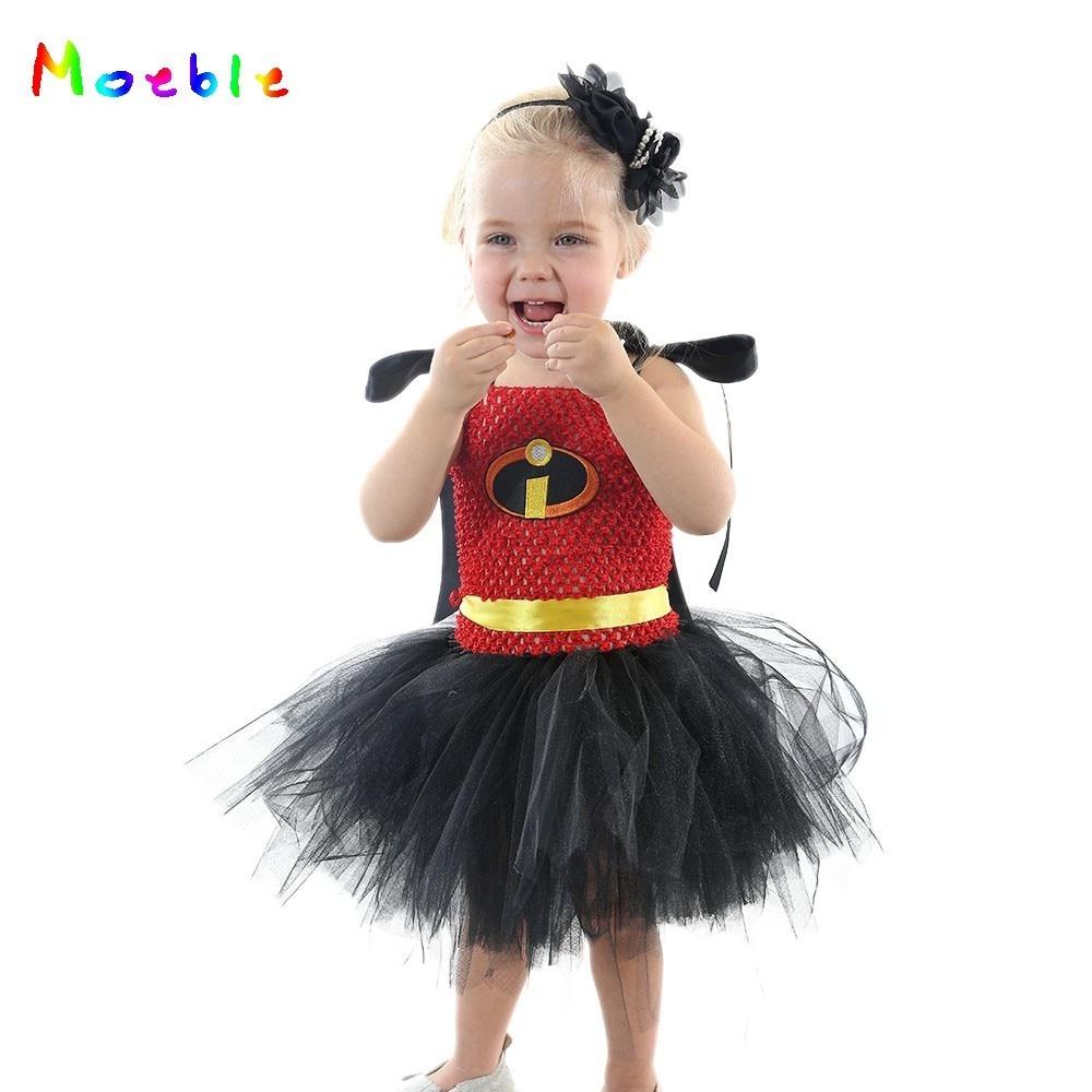Red Black Incredible Girls Tutu Dress Girls Superhero Theme Birthday Party Dresses Girl Baby Halloween Cosplay Costume for Kids 1