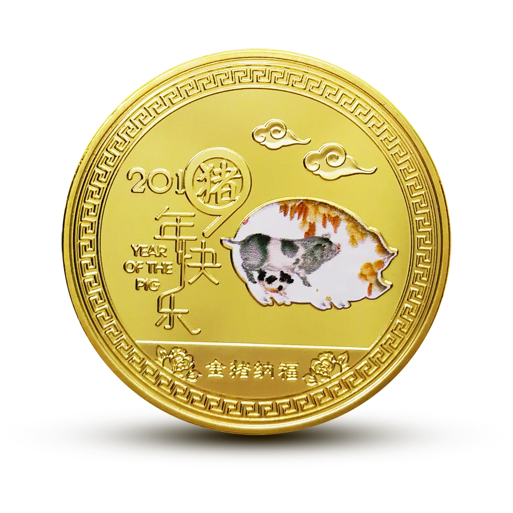 Year of pig gold 2019 chinese zodiac coin anniversary coins souvenir coin Hot