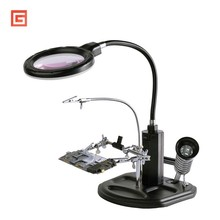 Welding Auxiliary Clip Desk Magnifier Lamp Soldering Iron Third Helping Hand Workbench LED Light Magnifying Glass Repair Loupe цены