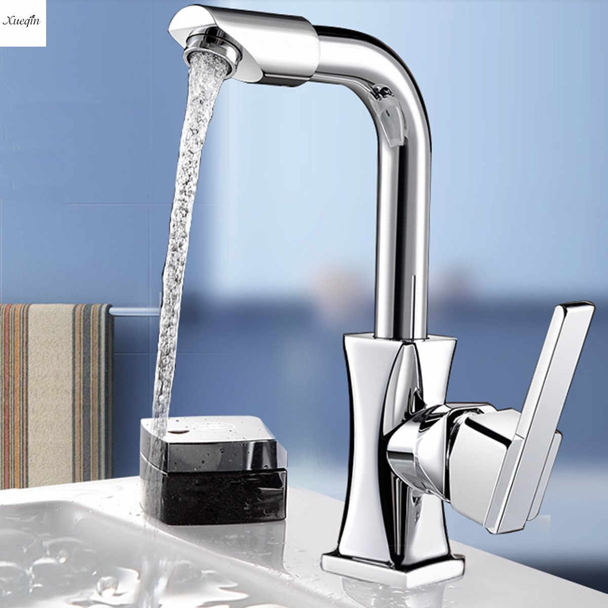 Xueqin 360 Rotation Spout Modern Kitchen Mixer Tap Brass Polished Single Handle Wash Basin Faucet For Bathroom Deck Mounted