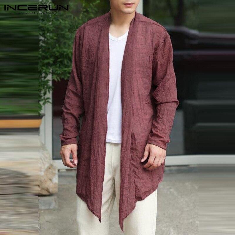 Retro Cardigan Mens Jackets Long Outwear Long Sleeve Irregular Hem Male Cloak Coats   Trench   Windbreaker Hombre Summer Autumn