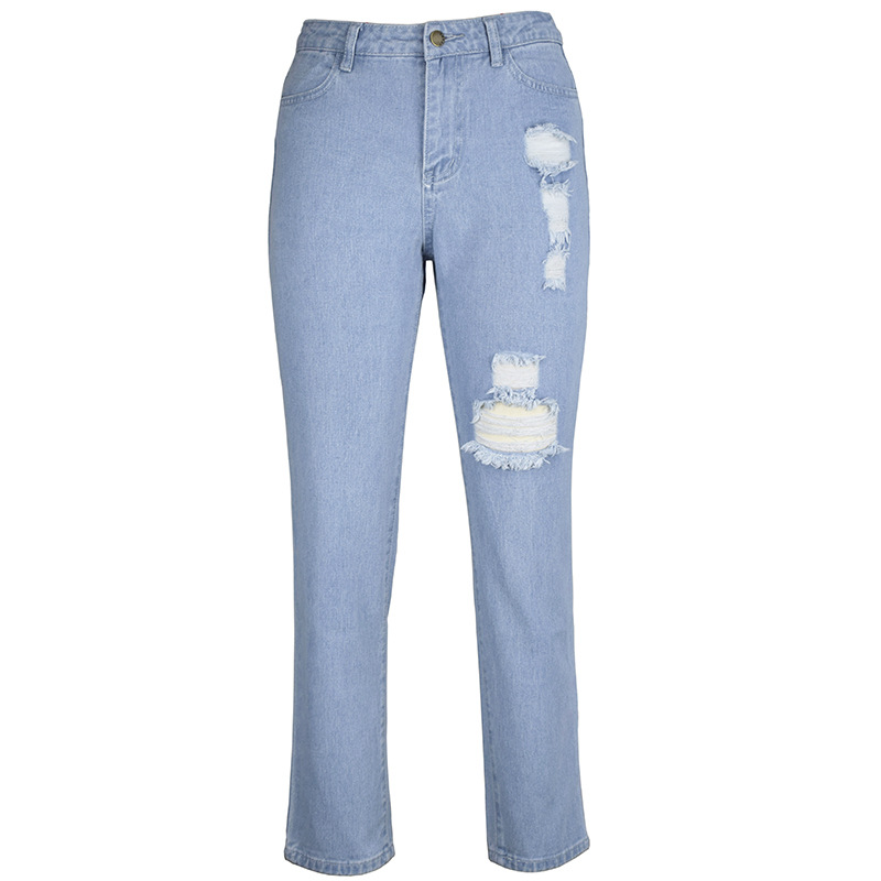 Spring 2019 Button Tassel Broken Hole Jeans Women