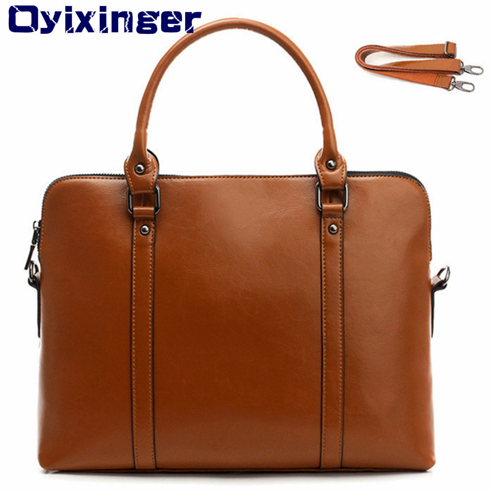 Genuine Leather Laptop Briefcase For HP Huawei Women 14 Inch Notebook Bag For Xiaomi  Lenovo Women's Handbags Ladies Office Bag-in Laptop Bags & Cases from Computer & Office    1