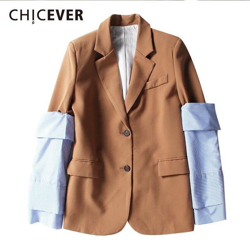 CHICEVER 2019 chaqueta de primavera chaquetas femeninas desmontable de retazos a rayas manga delgada chaqueta de mujer Abrigos moda ropa elegante-in chaqueta de deporte from Ropa de mujer    1