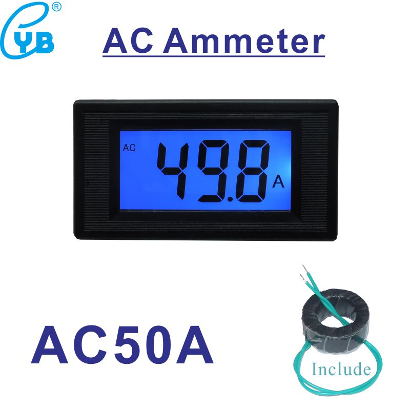 Ac Lcd Digital Current Meter Ampere Meter Ac 50a Ammeter Ac Amp Panel Meter Include 50a Ct Transformer Current Sensor Icl7107 Measurement & Analysis Instruments
