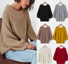 Women Fashion Loose Long Sleeve Oversize Sweater Kintted Jumper Tops Knitwear Pullover Tops women cloak sweater 2019 autumn new loose bat kitted sweater embroidery fashion tops spring leisure women pullover knitwear fc90