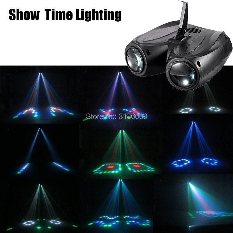 MOSTRAR o TEMPO duplo LED cabeça dirigível luz Da flor Da Lua Casa entretenimento DJ partido luz de Discoteca Som bloco de Construção Da Caixa de trabalho