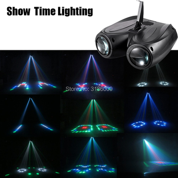 SHOW TIME LED dirigible de doble cabeza Luz de flores y Luna entretenimiento en el hogar DJ iluminación para fiesta discoteca sonido trabajo cartón bloque de construcción