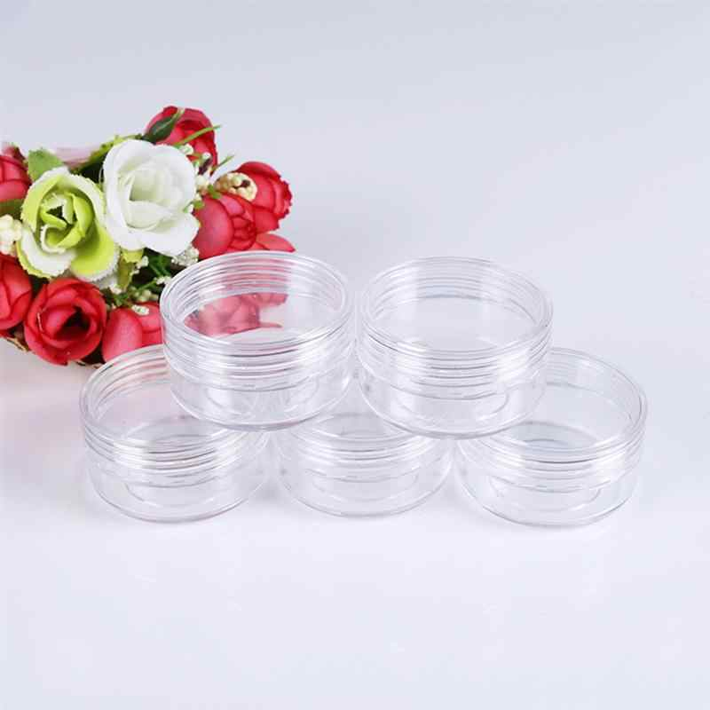 50pcs Pot Jars Plastic Empty Tin Round Pot Bottles Cosmetic Containers Travel Bottles for Sequin Eyeshadow Makeup Face Cream