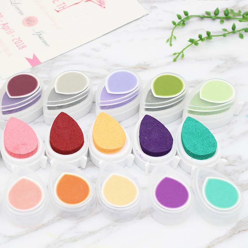 Ink Stamp Pads Gift For Children Water Droplets Inkpad Colorful Ink Pad Kids Favors DIY Scrapbooking Drop Shape