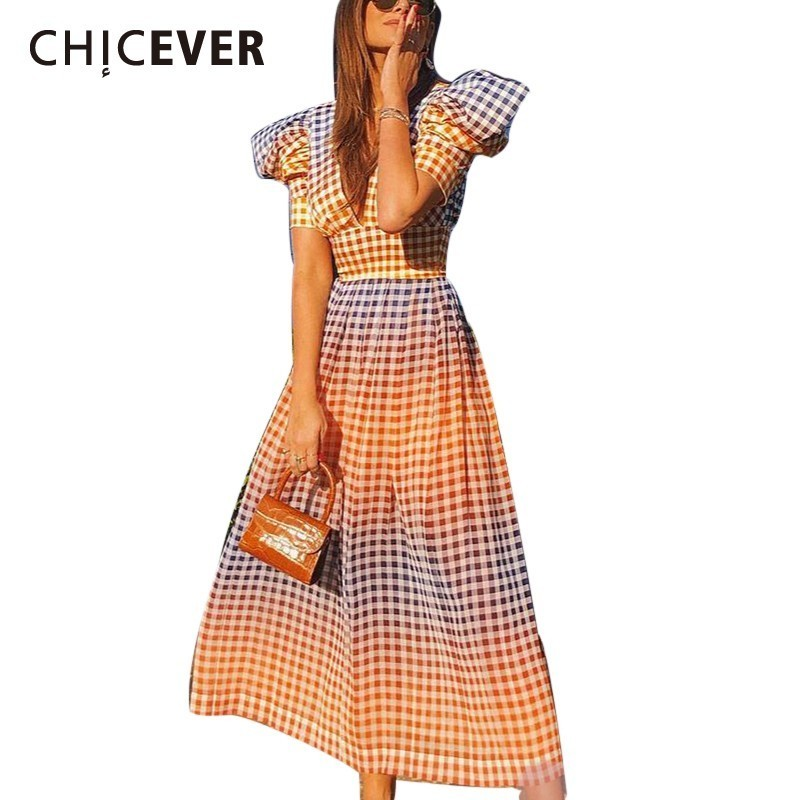 CHICEVER Summer Sexy V Neck Plaid Dresses Female High Waist Puff Short Sleeve Hit Color Long
