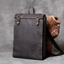 купить Laptop Backpack Crazy Horse Leather School Bag Backpack for Teenagers Computer Rucksack Travel Daypack Travel Backpacks по цене 6494.02 рублей