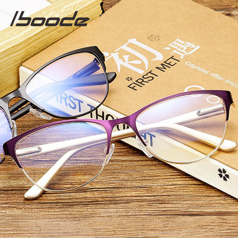 Iboode Half Frame Cat Eye Reading Glasses Women Men Antifatigue Computer Optical Glasses Retro Presbyopia Eyewear Feamale Elder