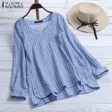 Women Plaid Blouse Tunic Tops Casual Long Sleeve Shirt Ladies Vintage Check Loose Pockets Blusas Plus Size V Neck Blusa Feminina цена и фото