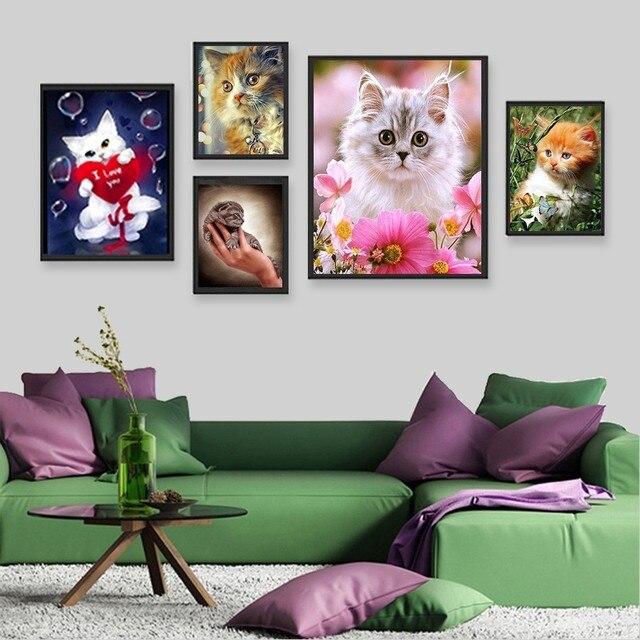 Huacan 5D Diamond Painting Full Square Cat Rhinestones Pictures Animals Diamond Embroidery Diamond Mosaic Sale Cartoon