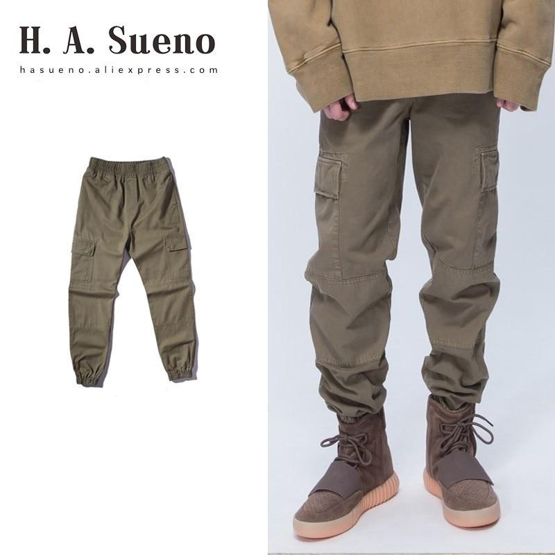 H. A. Sueno 2018 chaud KANYEWEST haute rue vêtements de travail style vintage Cargo pantalon pour hommes mode survêtement hommes pantalon/5