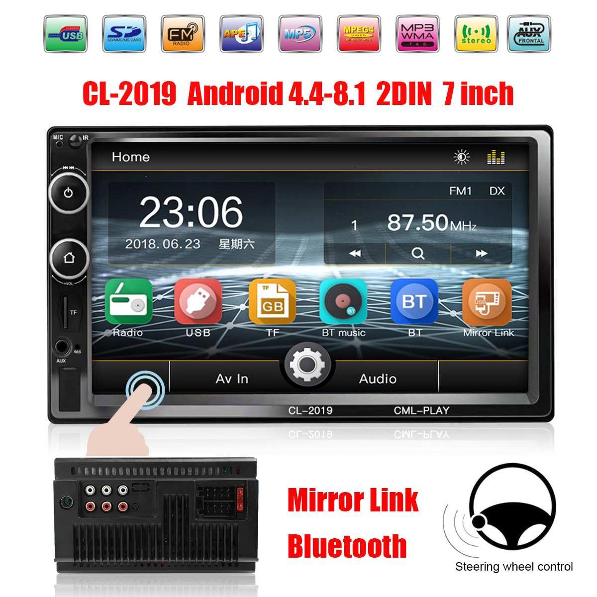 7 Inch 2DIN bluetooth Car MP5 Player Car Multimedia Player HD Touchable Hands Free Remote Control Car Radio Audio AUX FM USB