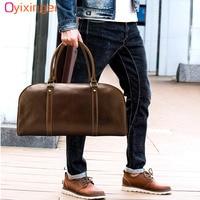 Genuine Leather Men's Travel Bags For Women Luggage Large Weekend Duffel Bag High Quality Duffle Men Travel Bag Malas De Viagem