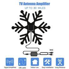 1080P kapalı TV anten yüksek kazanç amplifikatör HDTV dijital TV sinyal alımı 80 Miles aralığı anten dijital TV için