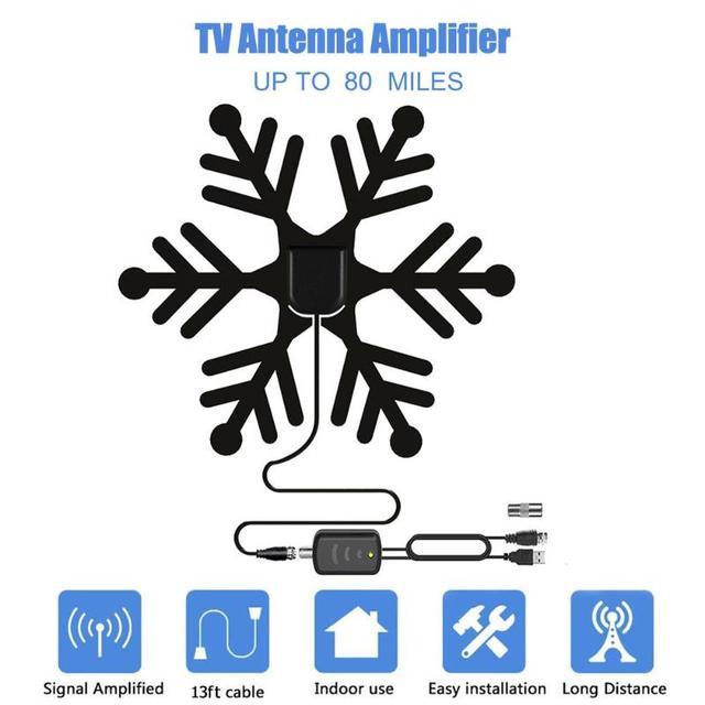 1080P wewnętrzna antena telewizyjna wzmacniacz wysokiej mocy HDTV telewizja cyfrowa odbiór sygnału 80 mil antena do telewizja cyfrowa