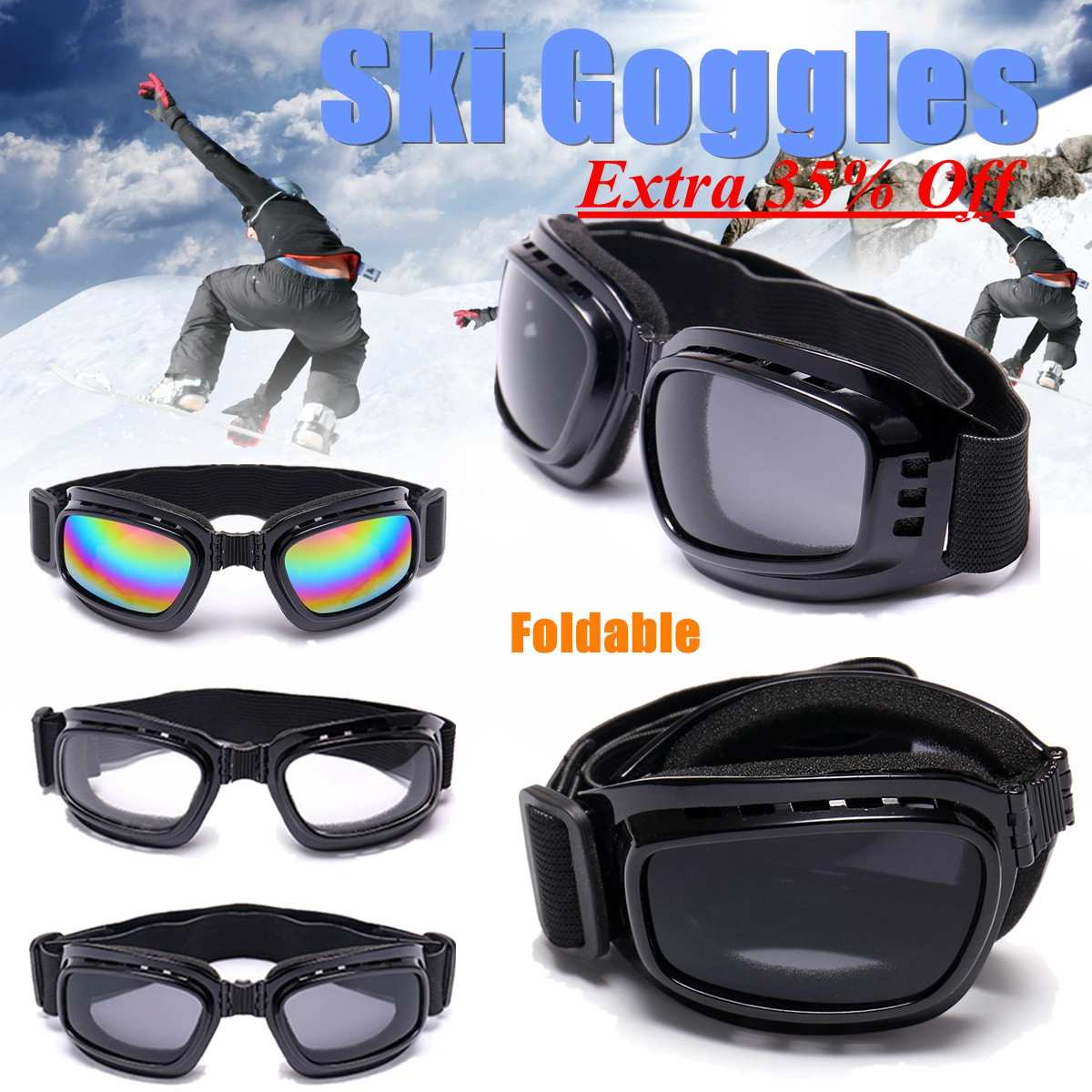 Self-Conscious Foldable Ski Skiing Goggles Snowboard Motorcycle Glasses Off Road Racing Eyewear Black Frame Sports & Entertainment Color/clear/grey Len Ergonomic Activating Blood Circulation And Strengthening Sinews And Bones