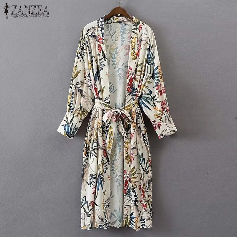2019 ZANZEA Women Boho Floral Long Kimono Cardigan Summer Lace Up Beach Shirt Casual Ladies Long Sleeve Blouse Tops Blusas