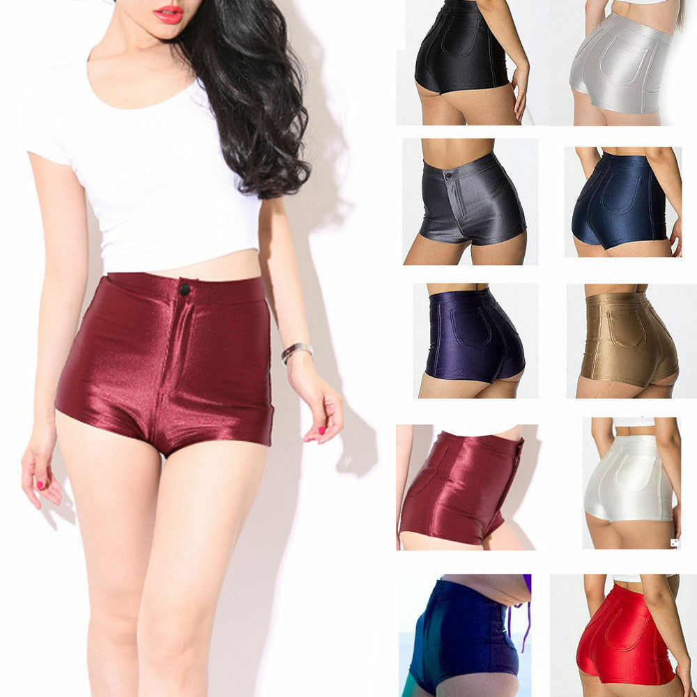 Women Hot Sale Slim Glossy Dance Shorts Skinny Imitation Light Mini Short Pants Thin Shiny Sexy Booty Elastic Shorts Black Red