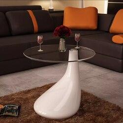 طاولة قهوة صغيرة الحجم VidaXL بسمك 8 مللي متر سطح طاولة مستدير من الزجاج على شكل قطرة ماء قاعدة طاولة مقهى بيضاء