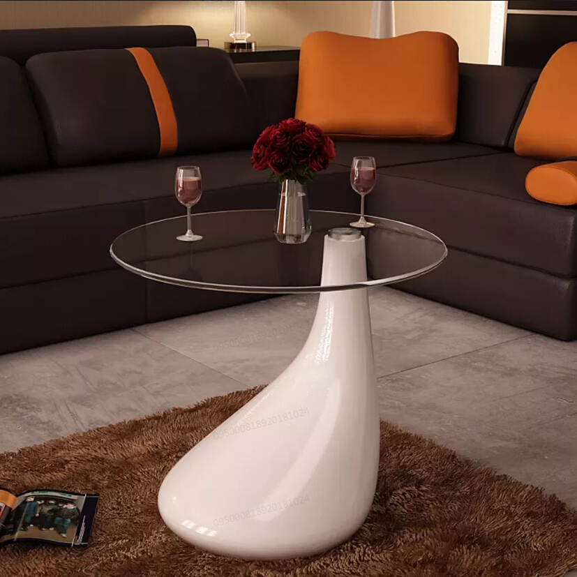 VidaXL Small Scale Coffee Table With 8 Mm Thickness Round Glass Table Top Water-Drop Shaped Base White Cafe Table