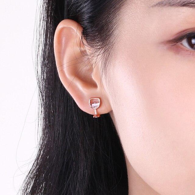 Moda simples brincos femininos oco vidro de vinho cúbico zircônia orelha brincos brincos jóias presentes 2