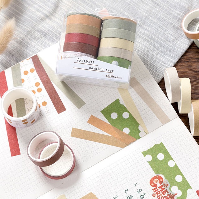 10Pcs/Set Cute Grid Washi Tape SetDecorative Adhesive Tape  Kawaii Masking Tape For Kids DIY Scrapbooking Diary Photos Albums 2
