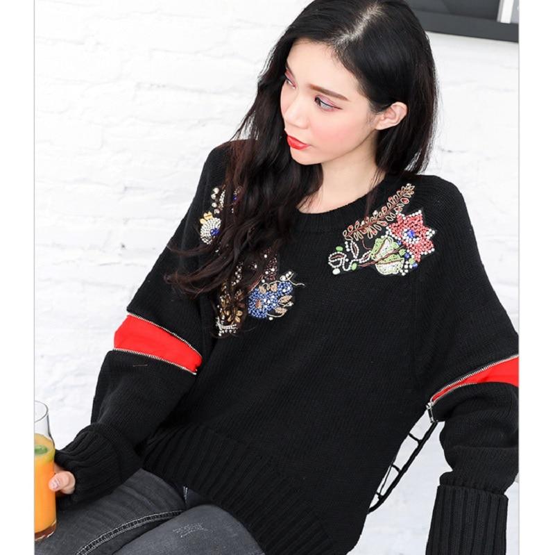 Tops Luxe Jumper Manches À 2018 Longues Pulls Femmes De Designer Piste Noir Broderie Vêtements Floral Chandail Hiver qqZvRS
