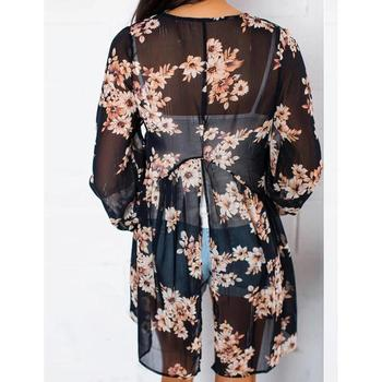 Women Beach Cardigan Chiffon Floral Protection Slit Printed Swimwear Women Ups Back Cover Sun cardigan