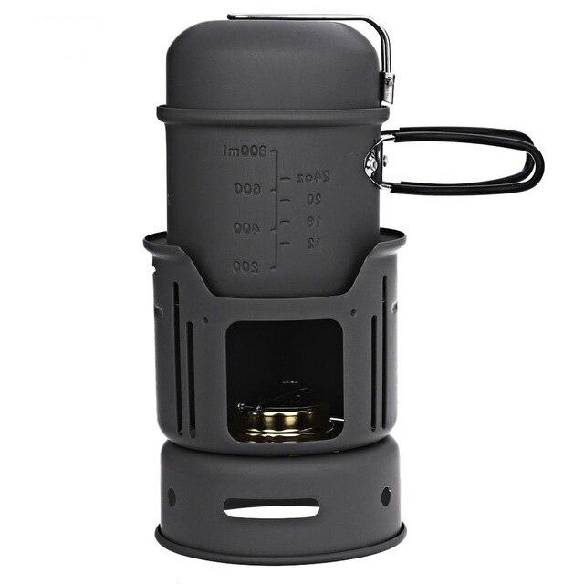 Portable 1-2 Personne 7 pièces Réchaud de Camping Cuisiner Ensemble Avec Pot Bol Réchaud À Alcool Pour La Randonnée En Plein Air Pique-Nique