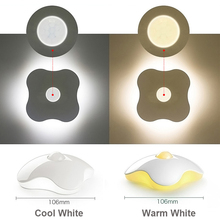 1pcs LED Sensor Night Light Lamps Four Leaf Clover Luminaria Motion PIR Intelligent Human Body Induction Bedroom Lamp