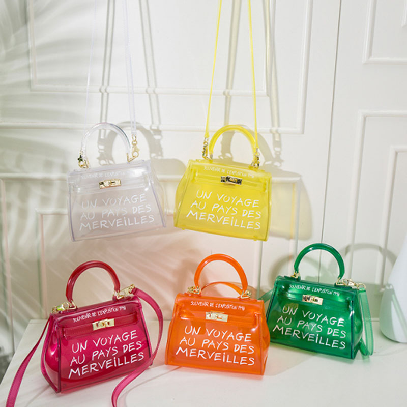 New 2019 Women Fashion Transparent PVC Clear Alphabet Jelly Shoulder Bag Letters Candy Color Water Proof Messenger Tote Handbag