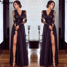 2018 Abito Lungo Cerimonia Donna Women Lace Dress Elegant Evening Party Femme Robe Deep V Neck High Slit Sexy Long Maxi Dresses