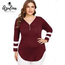 AZULINA Women T-Shirt Plus Size Zip V Neck Curvy T-Shirt Female Long e18dd62d5de2