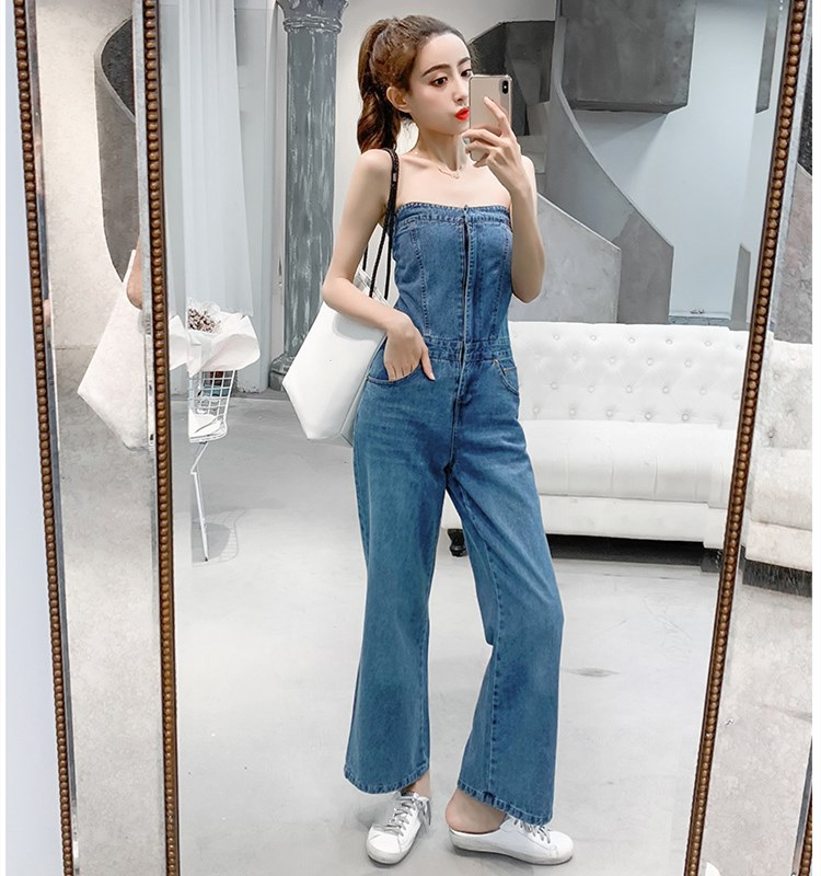 Women Sexy Off Shoulder Denim Jumpsuit Fashion Sleeveless Pure Long Romper Casual Vocation Holiday Wide Leg Playsuits in Jumpsuits from Women 39 s Clothing