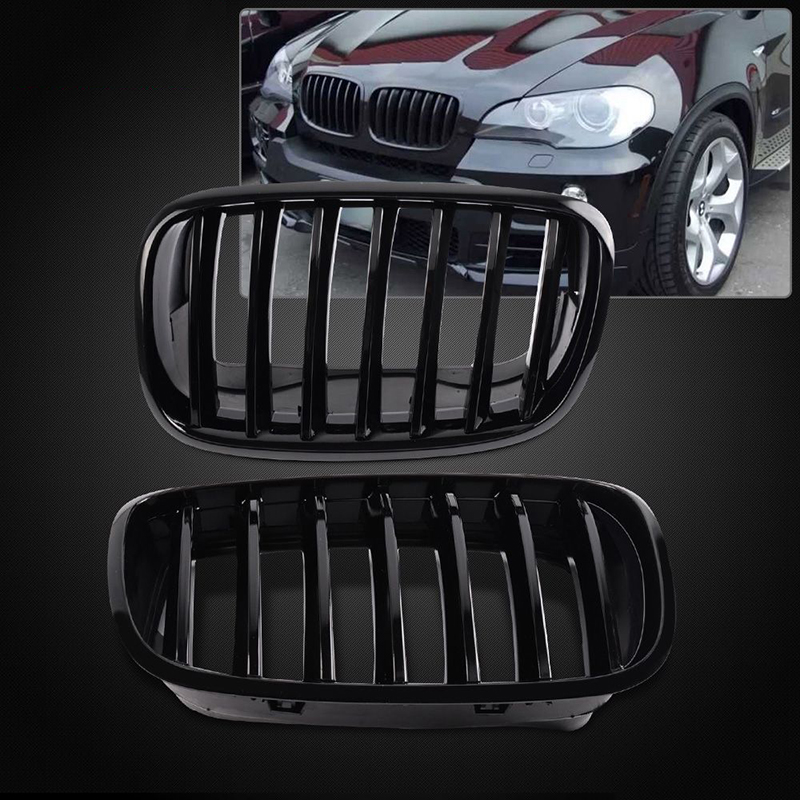 One Pair Glossy Black ABS plastic Front Bumper Kidney Grille For BMW E70 X5 2007 2013 E71 X6 2007 2013
