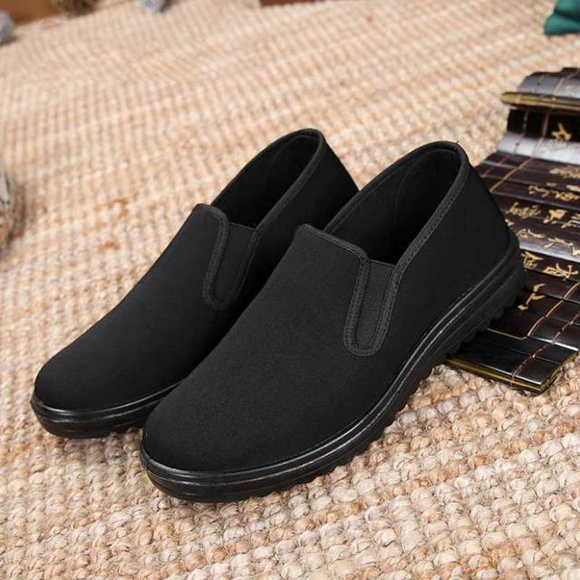 68dc6b0f458 Spring Black Cotton Cloth Shoes Loafers Mens Footwear Casual Sneaker Dad  Shoes Mens Slip On Shoes Work Light Male Kung Fu Shoes