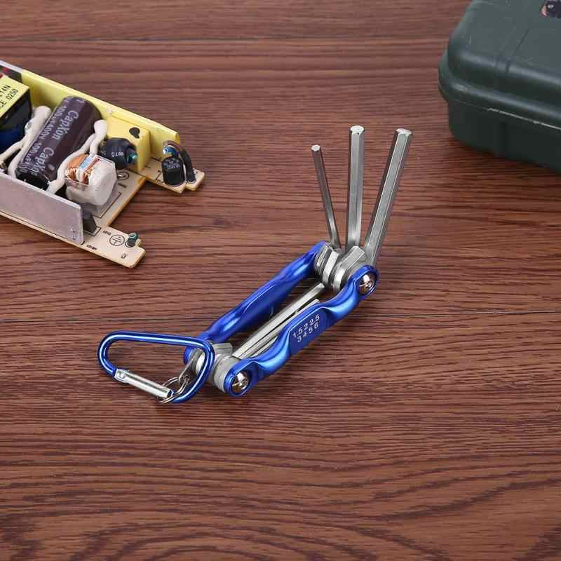 Chave de dobramento portátil hex chave conjunto metal métrica hexagonal interno chave allen conjunto com mosquetão anahtar takimlar pçs/lote