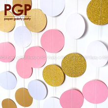 PGP Pink Gold Paper Circle Garland, Princess Kids Girls First 1st Sweet Sixteen Birthday Baby Bridal showers Party Decoration