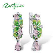 SANTUZZA כסף עגילים לנשים טהור 925 סטרלינג כסף עדין ירוק עלים זרוק עגילי תכשיטים בעבודת יד אמייל