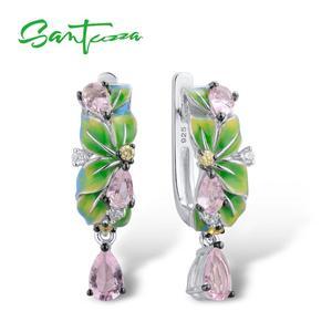 Image 1 - SANTUZZA boucles doreilles en argent Sterling 925 pur pour femmes, feuilles vertes délicates, boucles doreilles en forme de goutte, bijoux en émail faits à la main