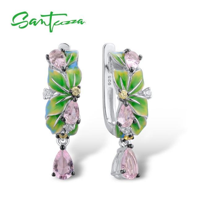 SANTUZZA boucles doreilles en argent Sterling 925 pur pour femmes, feuilles vertes délicates, boucles doreilles en forme de goutte, bijoux en émail faits à la main